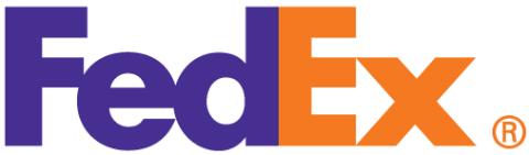 Purple and orange FedEx logo